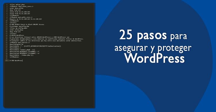 25 pasos para asegurar y proteger WordPress